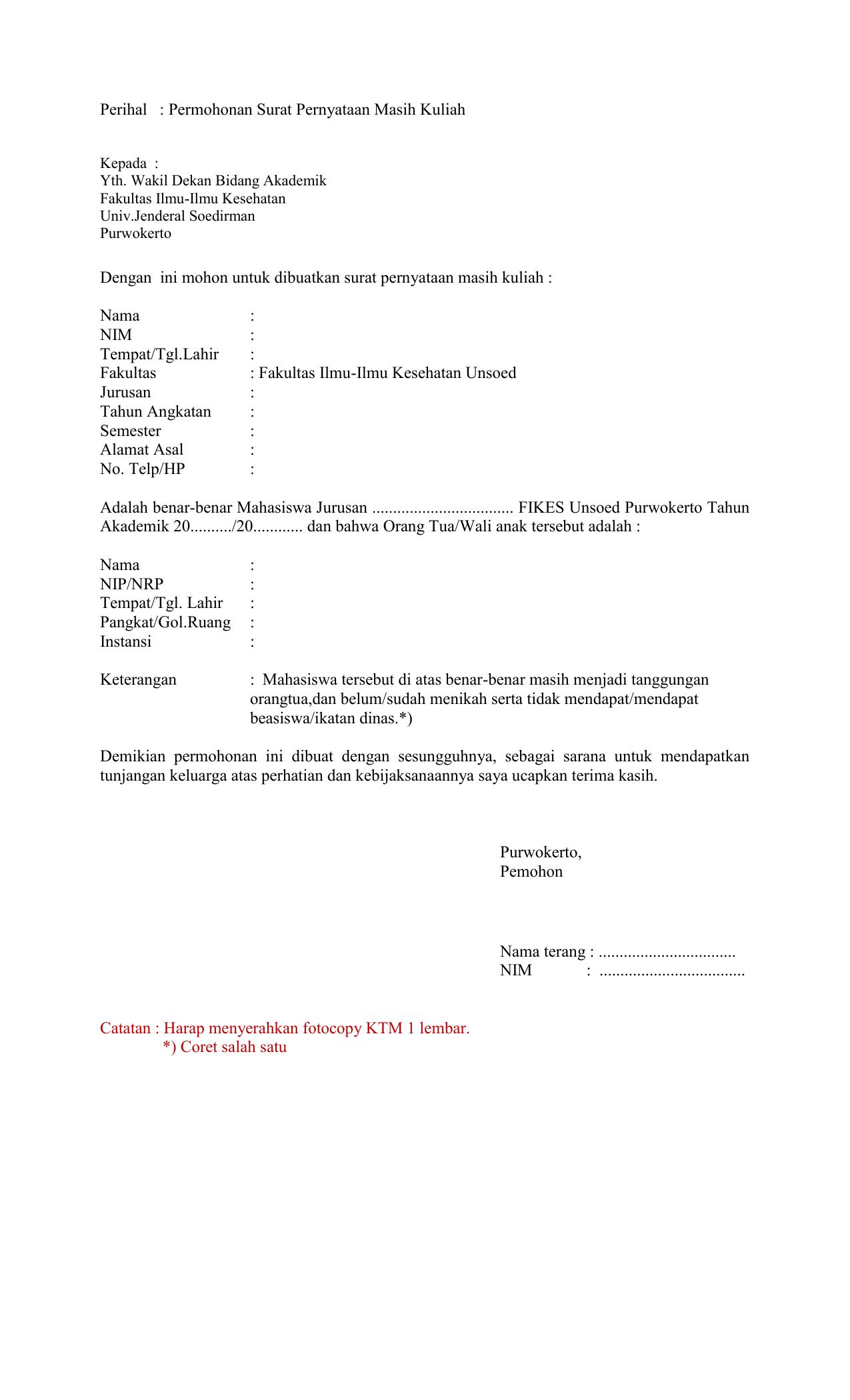 Formulir Surat Keterangan Masih Kuliah