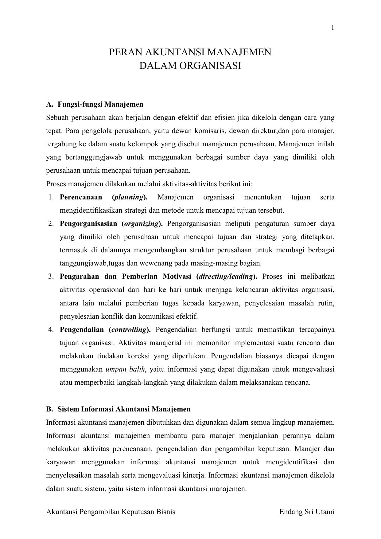 Peran Akuntansi Manajemen Dalam Organisasi
