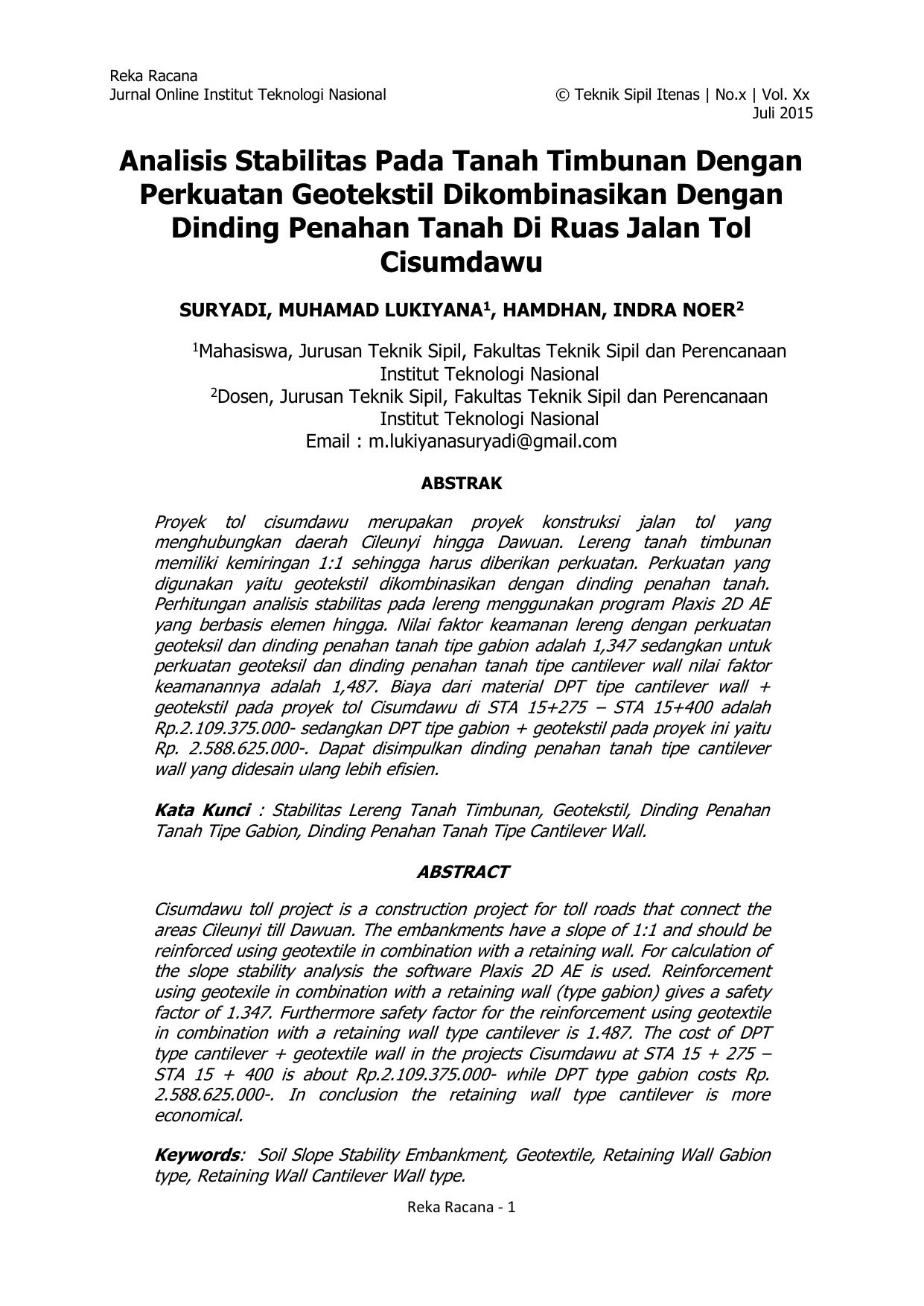 Analisis Stabilitas Pada Tanah Timbunan Dengan Perkuatan