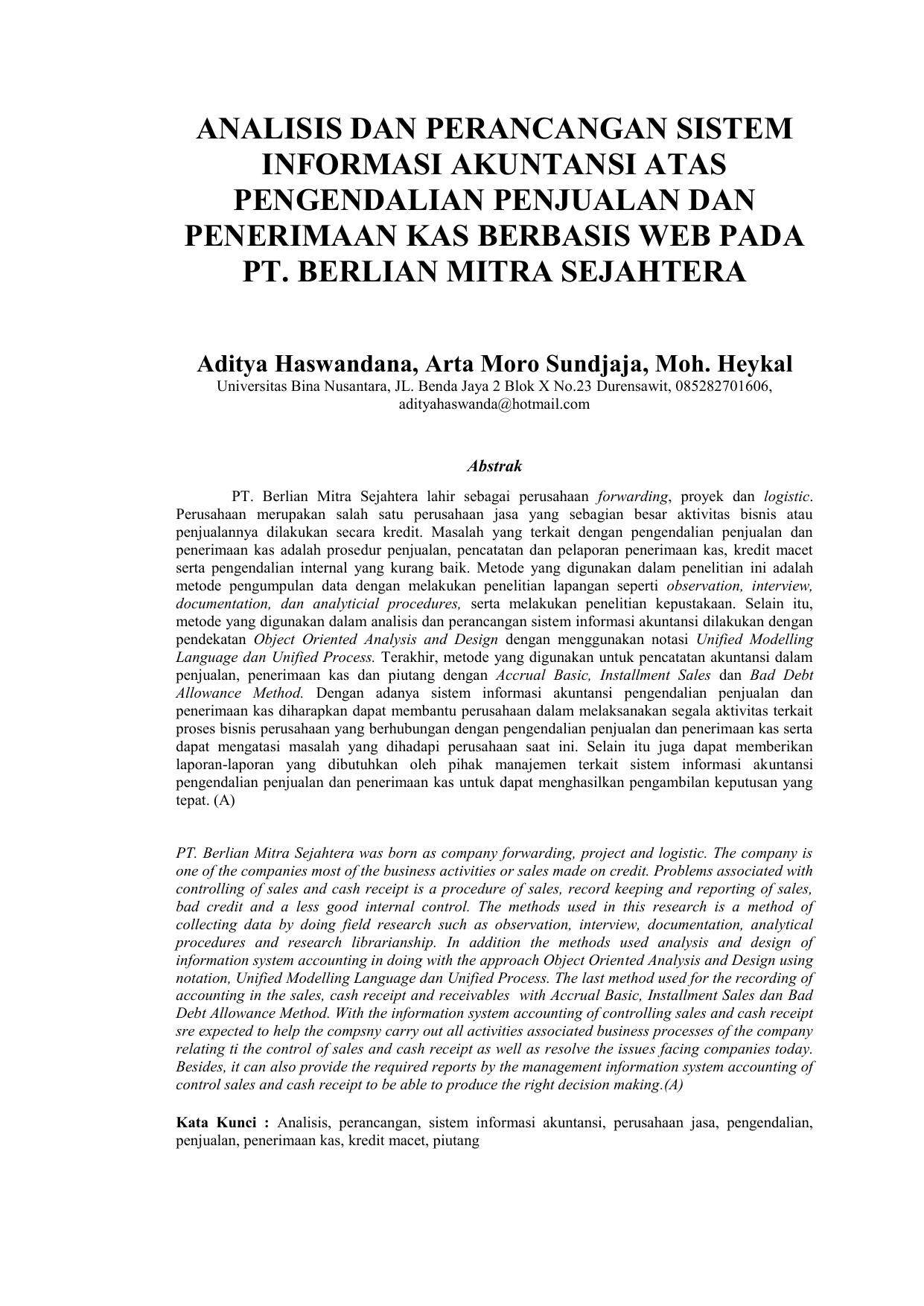 Analisis Dan Perancangan Sistem Informasi Akuntansi