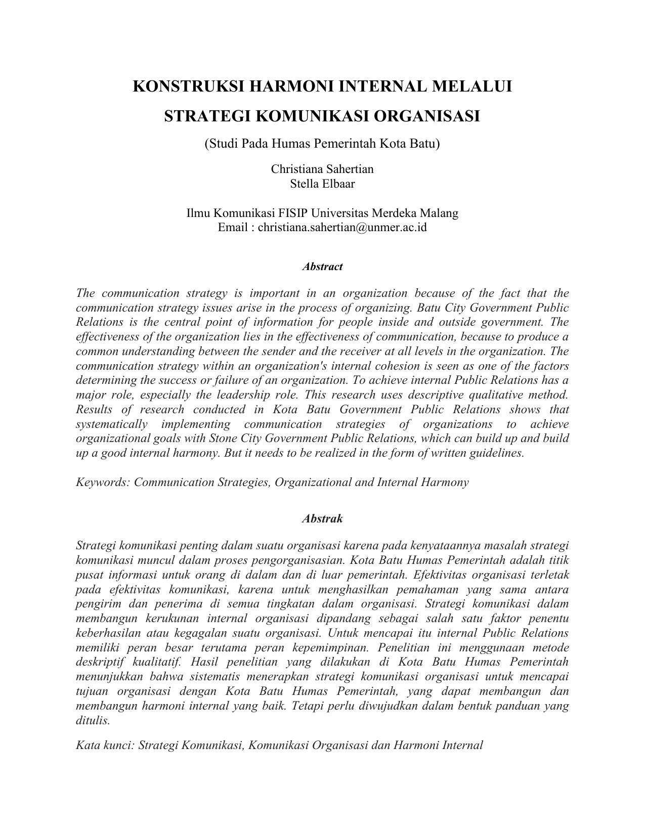 strategi komunikasi internal universitas