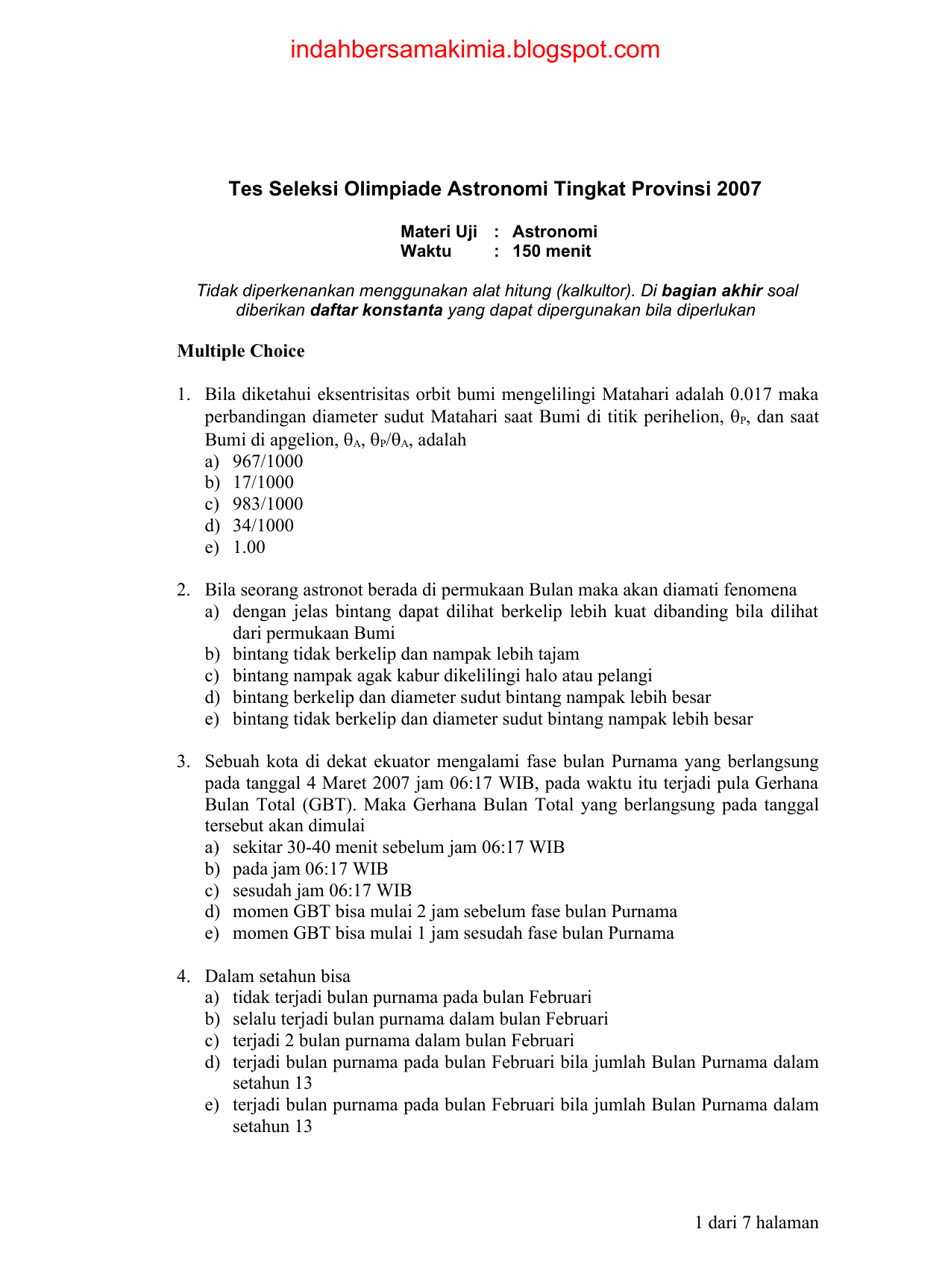 Tes Seleksi Olimpiade Astronomi Tingkat Provinsi 2007