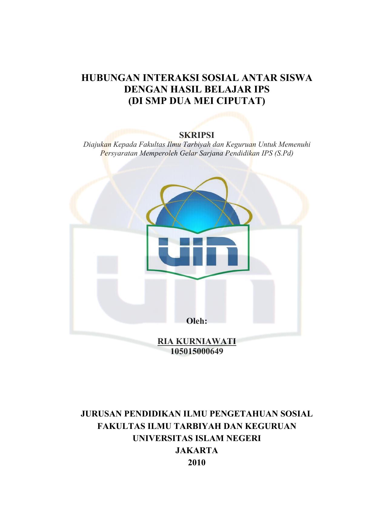 Skripsi Uin Jakarta Ide Judul Skripsi Universitas