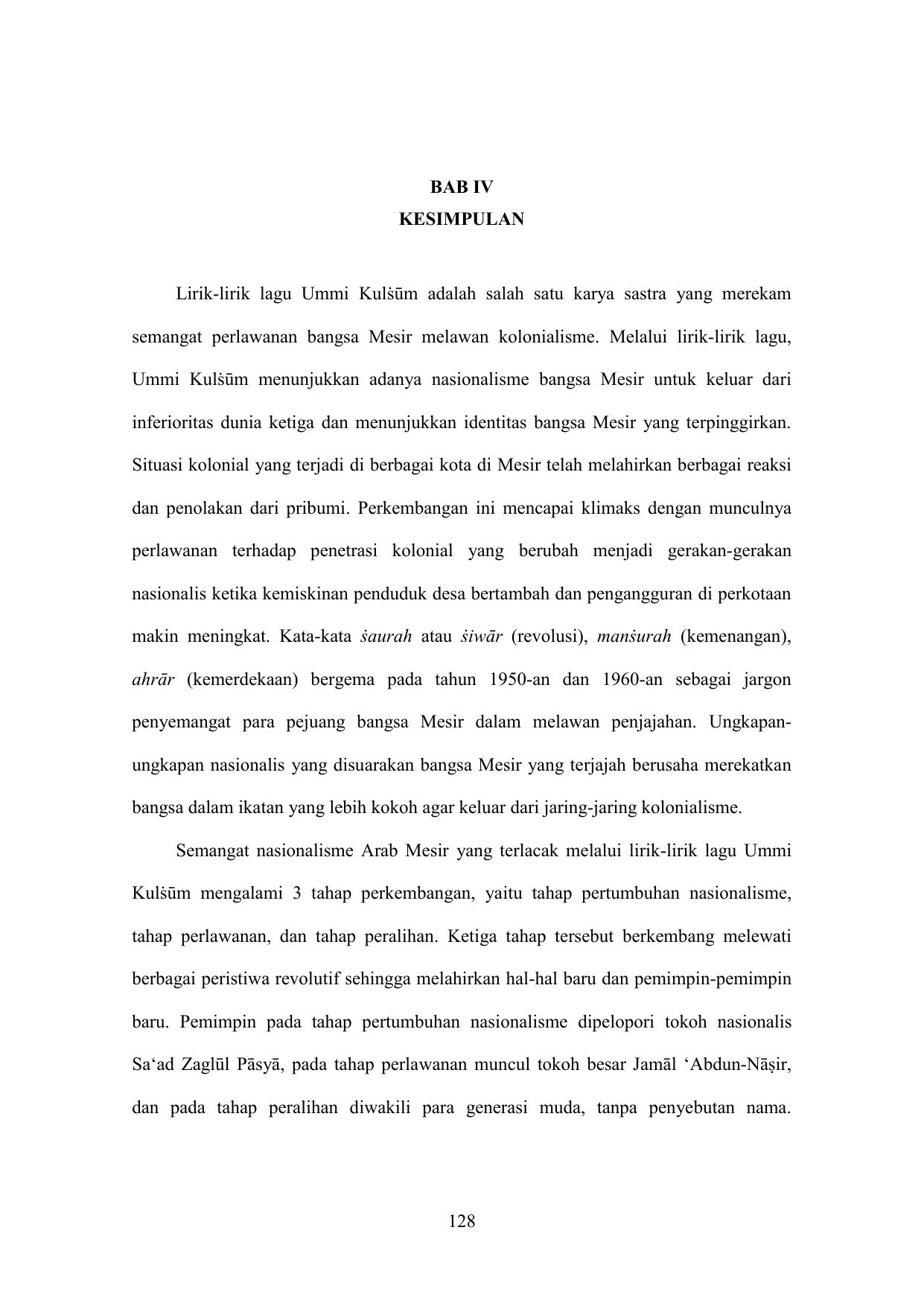 128 Bab Iv Kesimpulan Lirik Lirik Lagu Ummi Kulṡum
