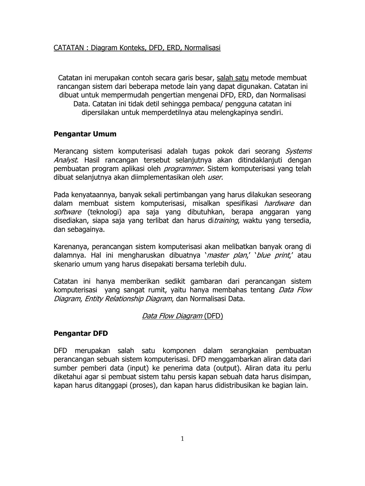 Catatan Diagram Konteks Dfd Erd Normalisasi