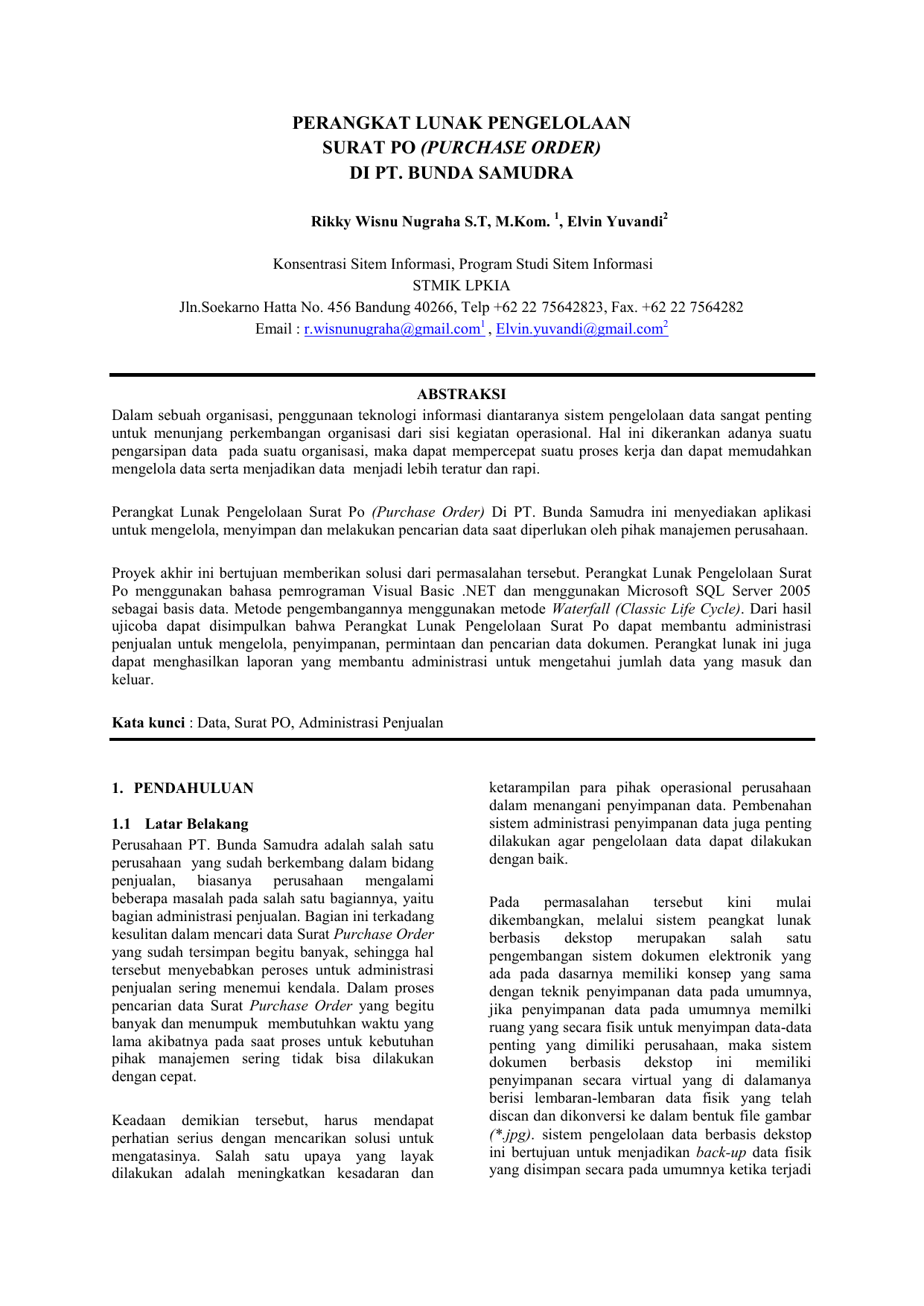Perangkat Lunak Pengelolaan Surat Po Purchase Order Di Pt