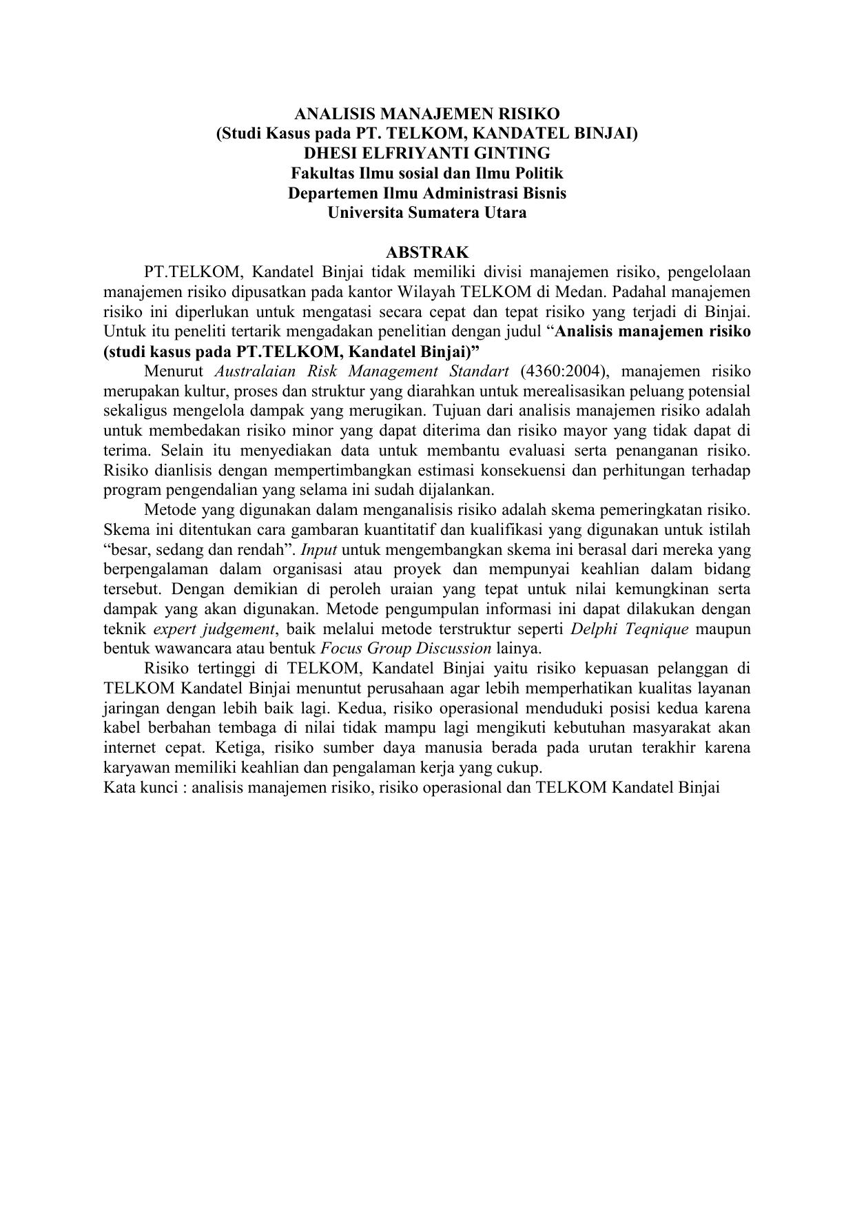 Analisis Manajemen Risiko Studi Kasus Pada Pt Telkom