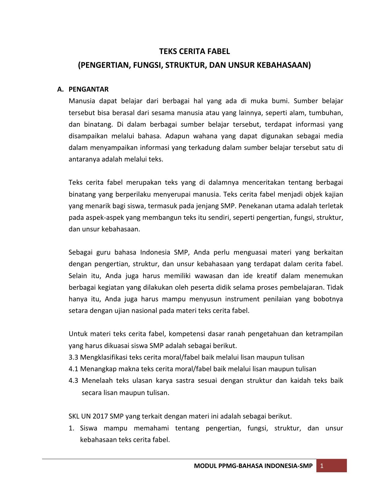 5 Modul Ppmg Teks Fabel Dispendik Ketenagaan Surabaya