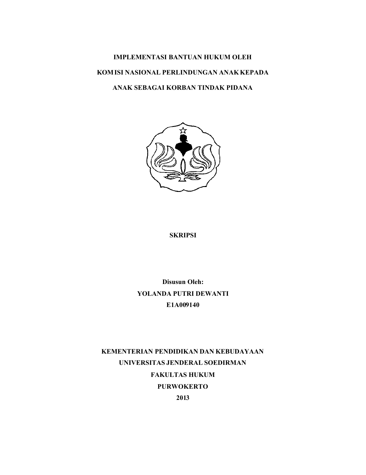 Skripsi E1a009140 Fakultas Hukum Unsoed