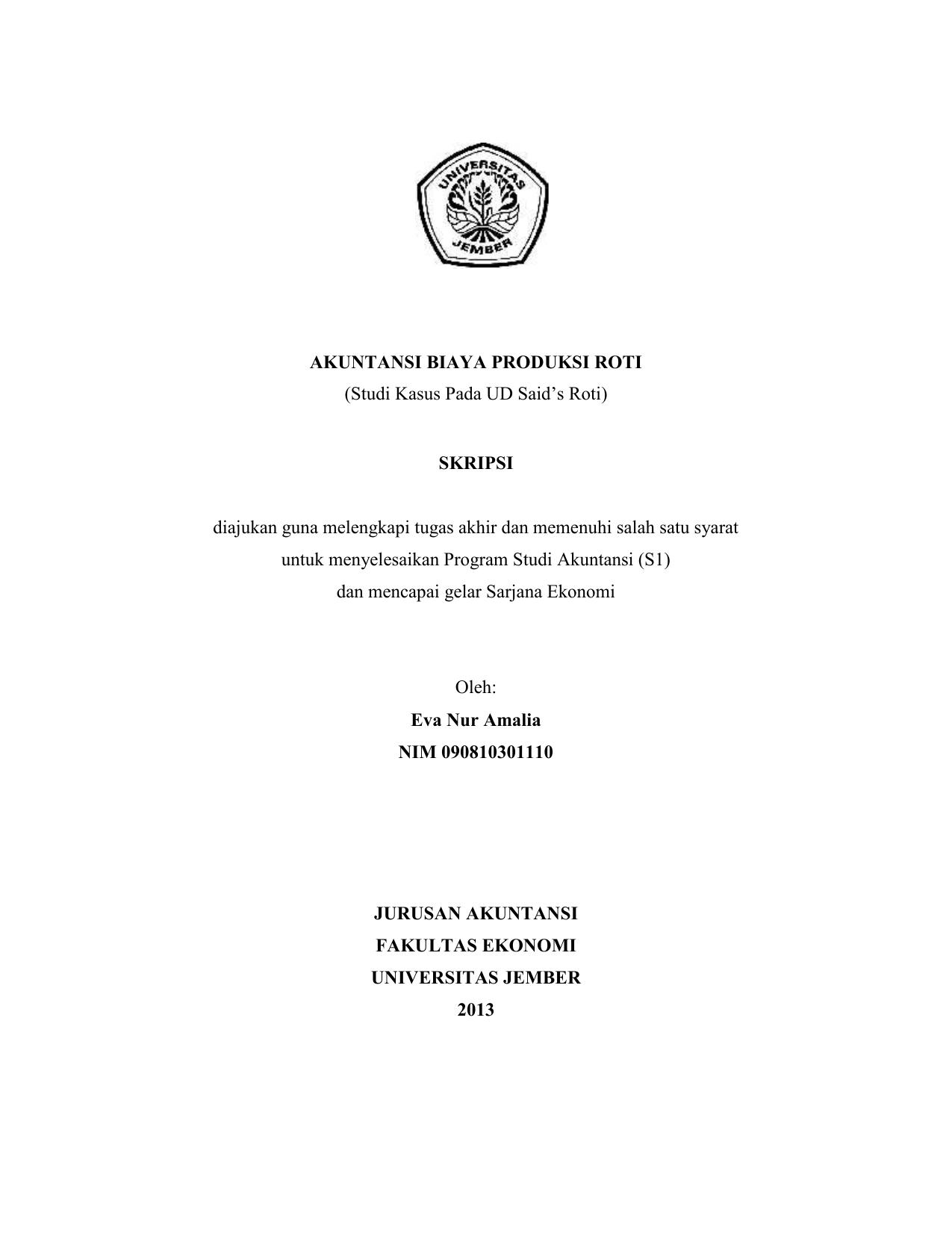 Akuntansi Biaya Produksi Roti