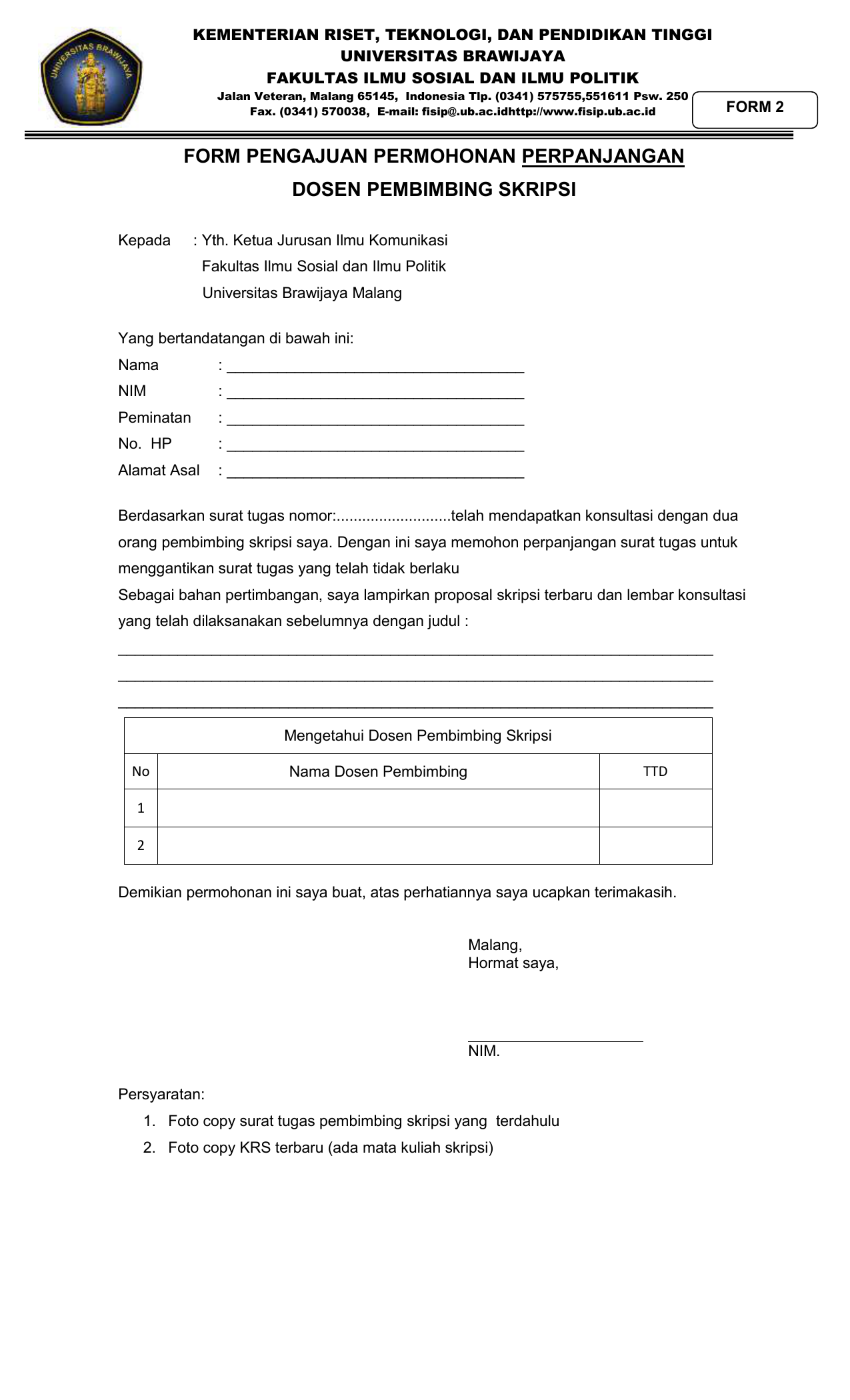 Surat Tugas Pembimbing Skripsi Psikologi Ub