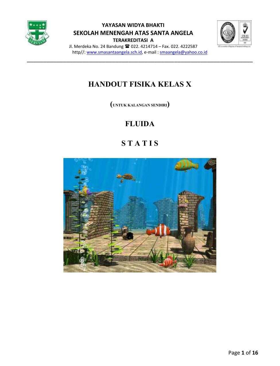 Handout Fluida Statis
