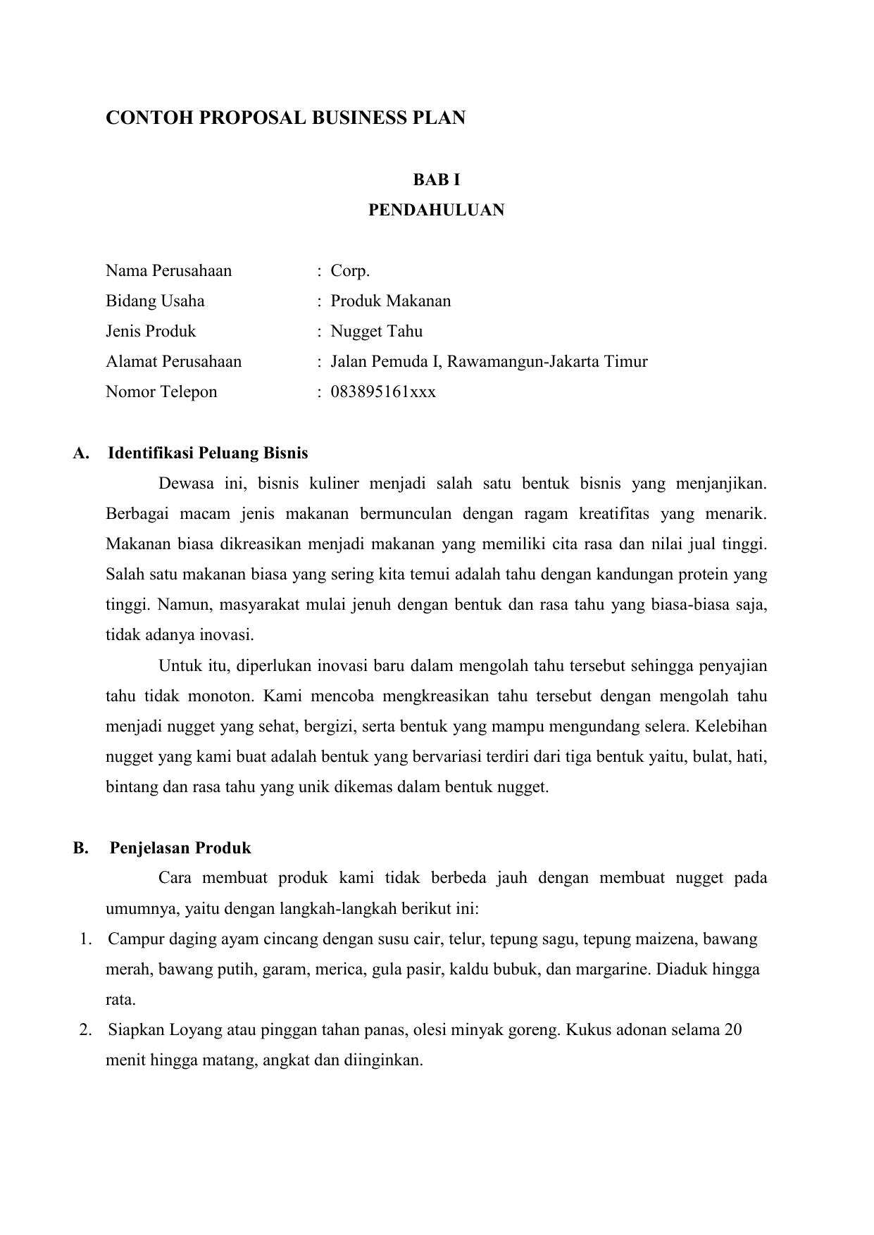 Contoh Proposal Usaha Keripik Pisang Pdf - Extra