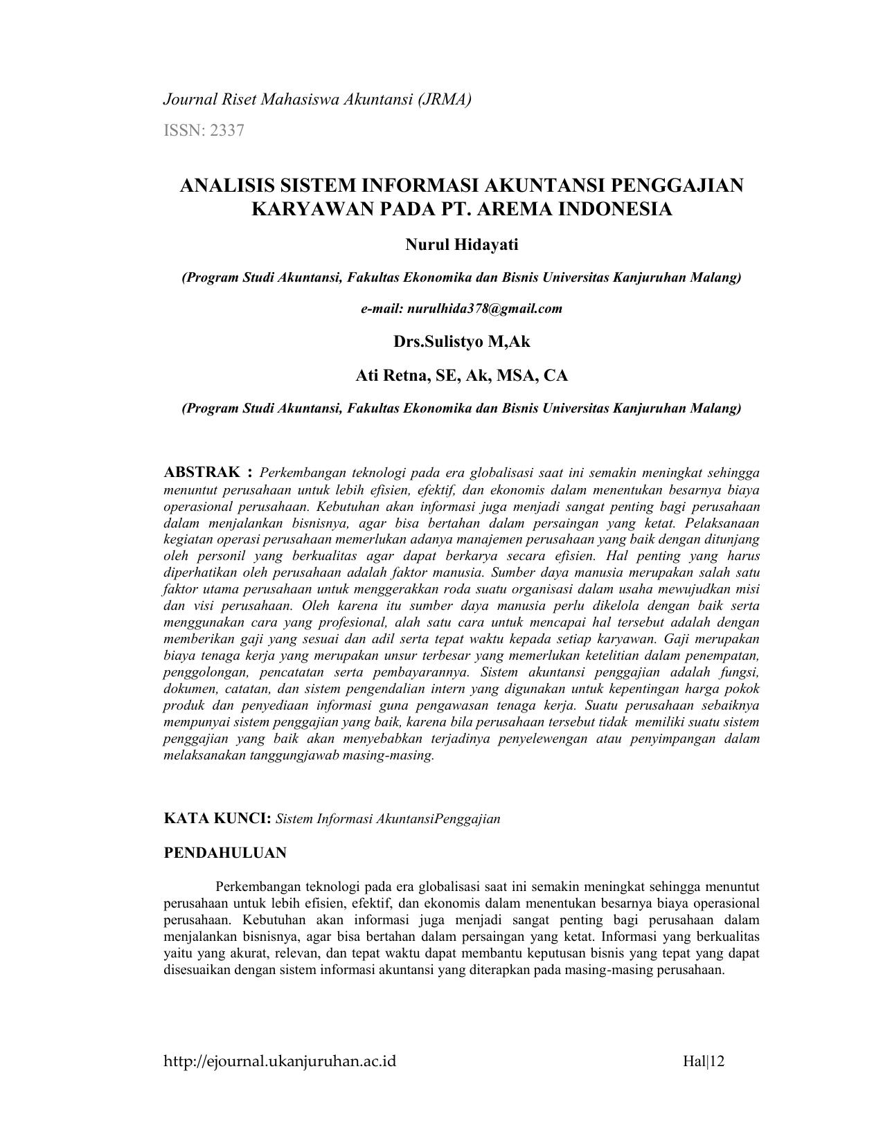 Analisis Sistem Informasi Akuntansi Penggajian