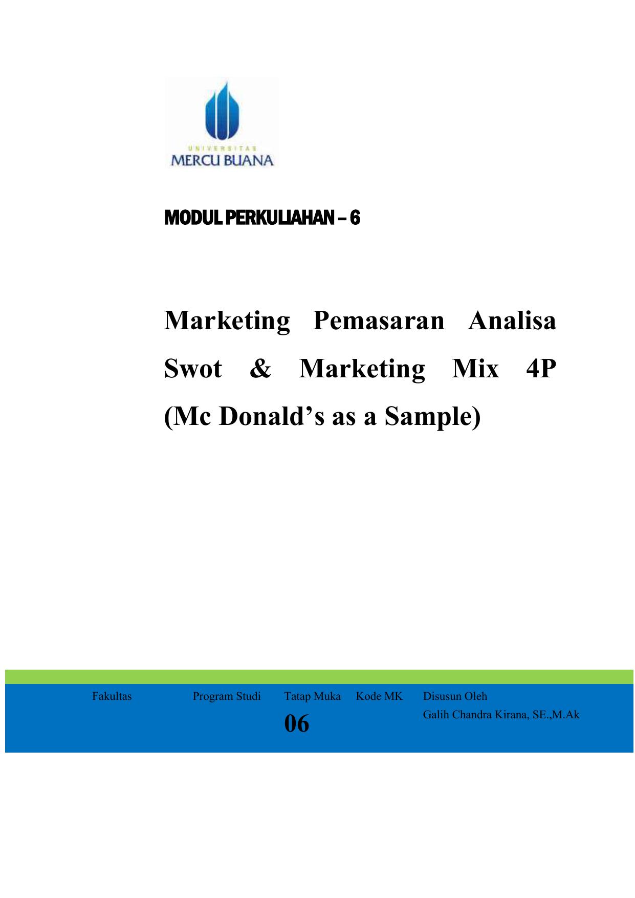 Analisis Swot Pemasaran Mcdonald S