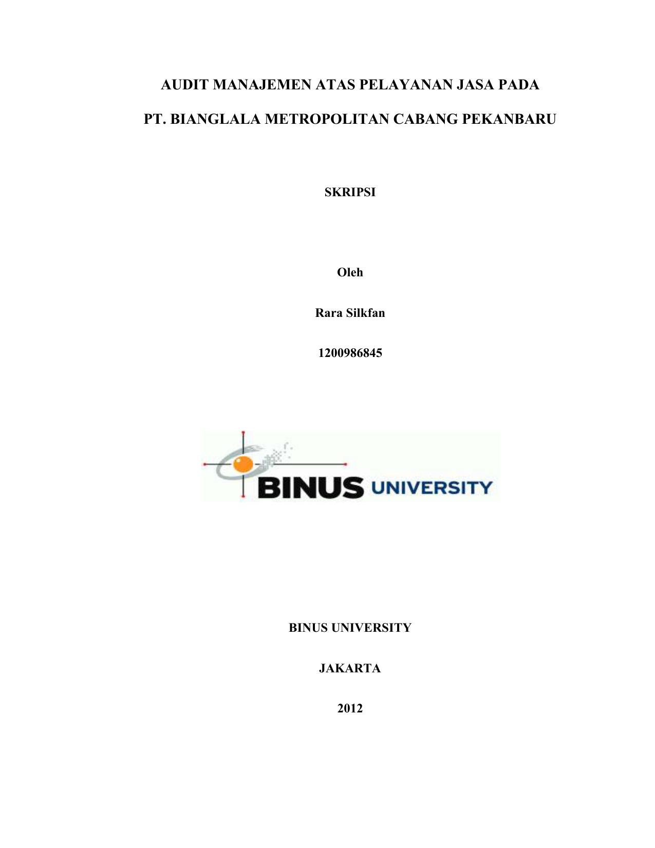 Skripsi Binus Akuntansi Ide Judul Skripsi Universitas