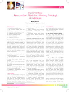 Implementasi Personalized Medicine di bidang