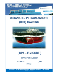 disignated person ashore (dpa) training ( dpa – ism code )