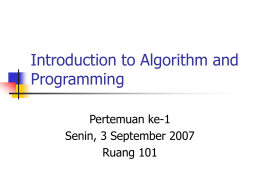 Introduction to Algorithm and Programming - E