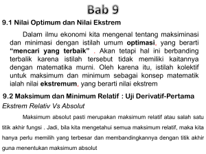 9.2 Maksimum dan Minimum Relatif : Uji Derivatif-Pertama