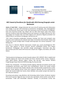 WCC Award of Excellence for Handicrafts 2014 Dorong