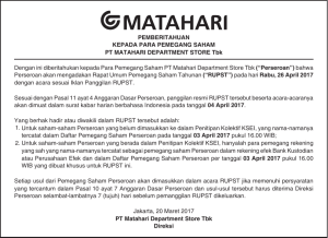 Announcement to the Shareholders of PT Matahari Department