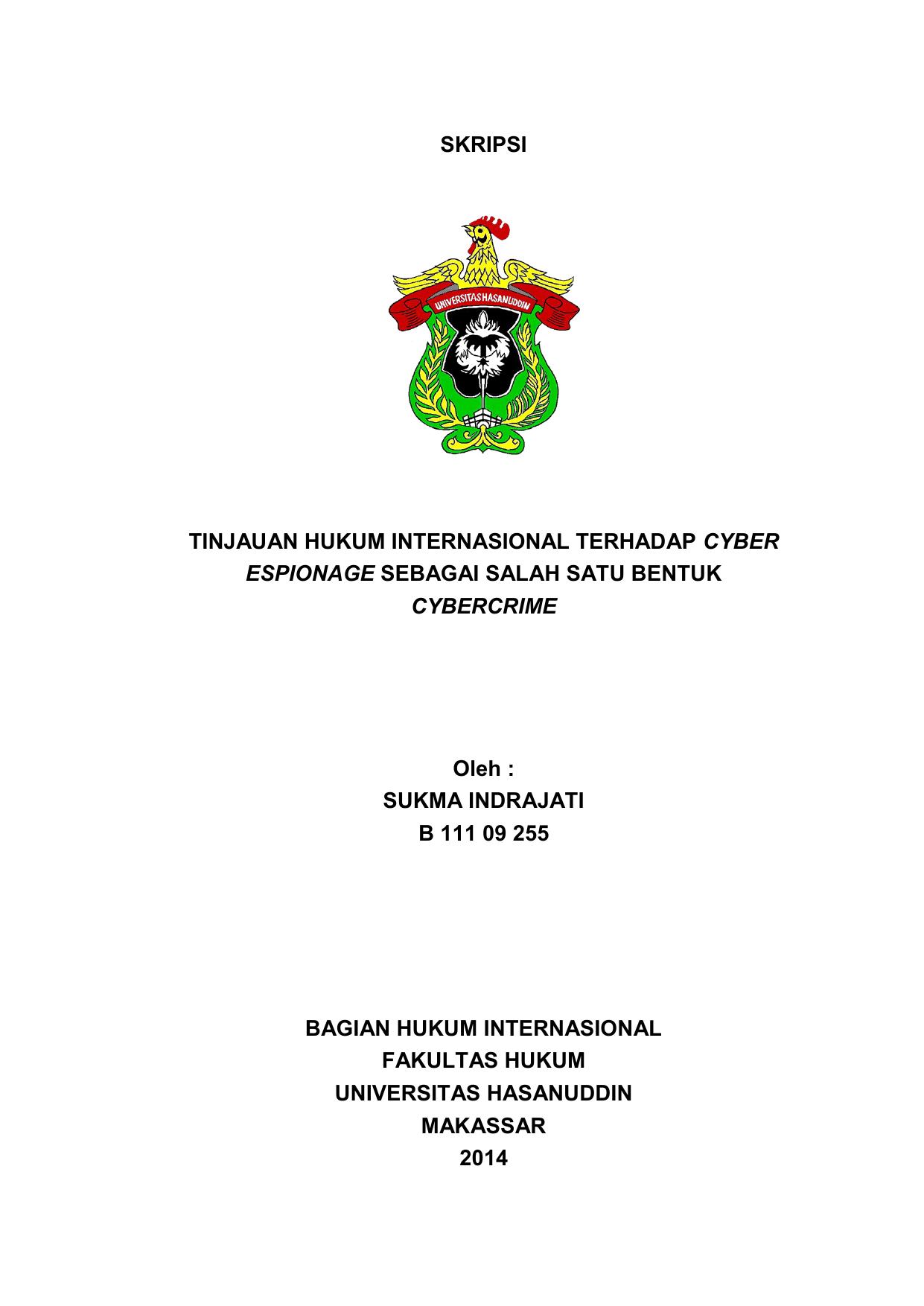 Skripsi Tinjauan Hukum Internasional Terhadap