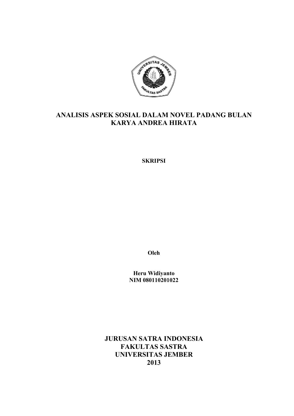 Analisis Aspek Sosial Dalam Novel Padang Bulan Karya Andrea Hirata