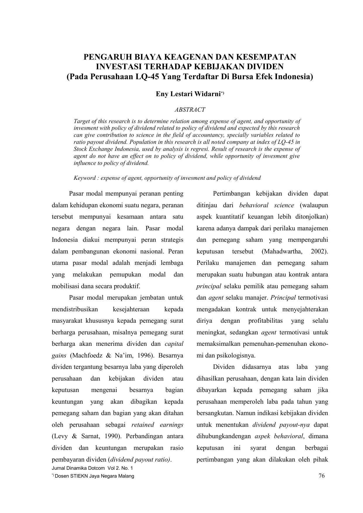 penilaian opsi panggilan indonesia pada tes empiris saham pembayar dividen