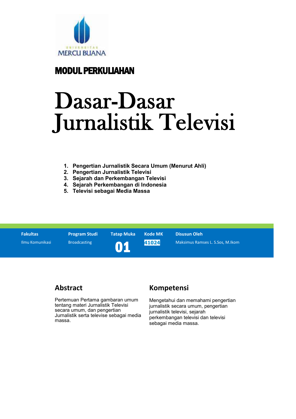Modul Dasar Dasar Jurnalistik Tv Tm1