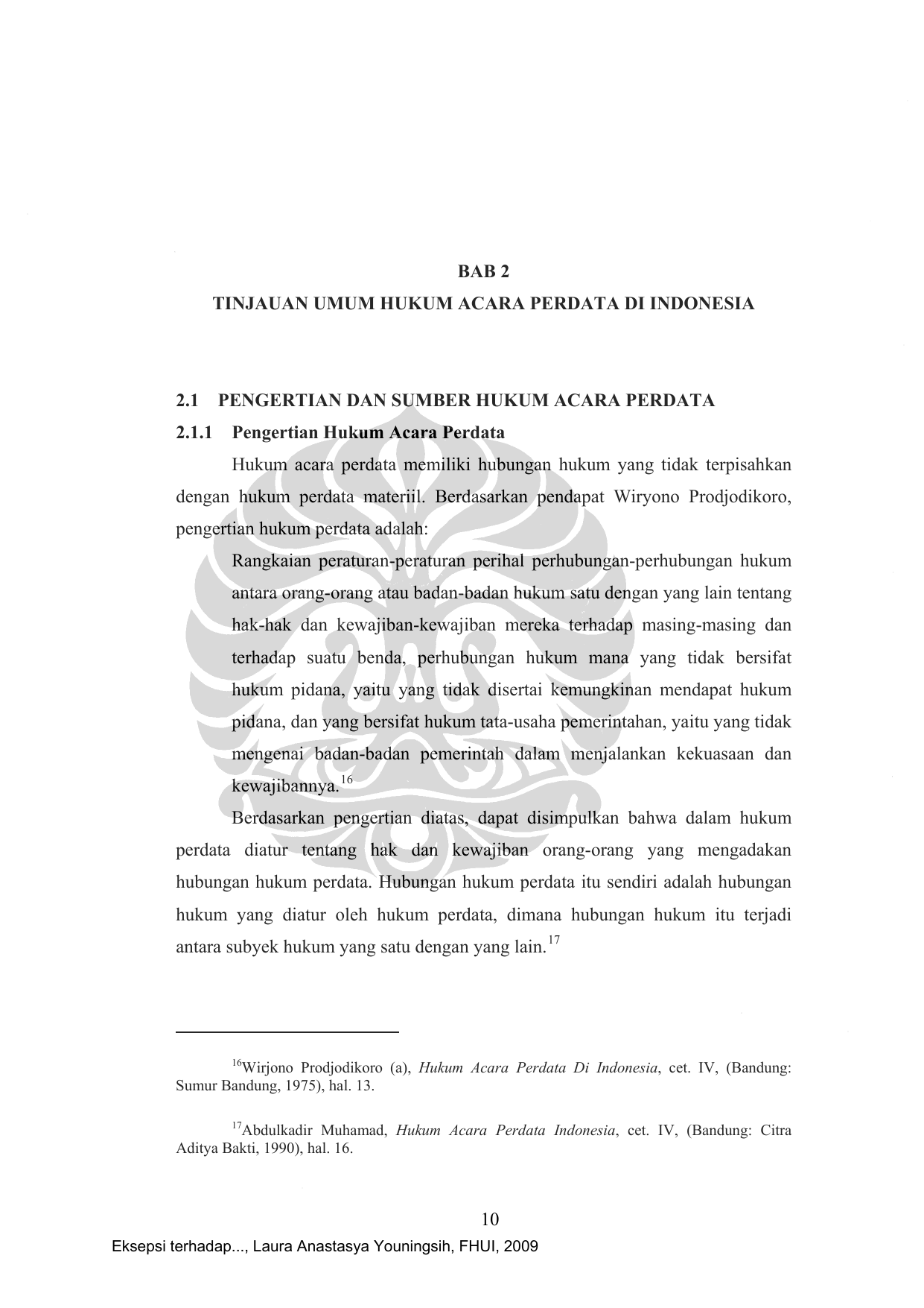 Bab 2 Tinjauan Umum Hukum Acara Perdata Di