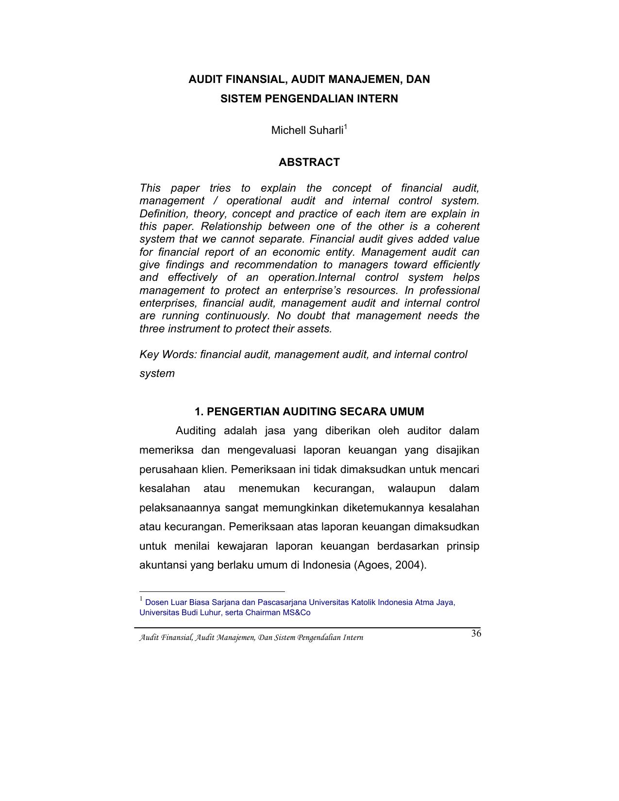Audit Finansial Audit Manajemen Dan Sistem