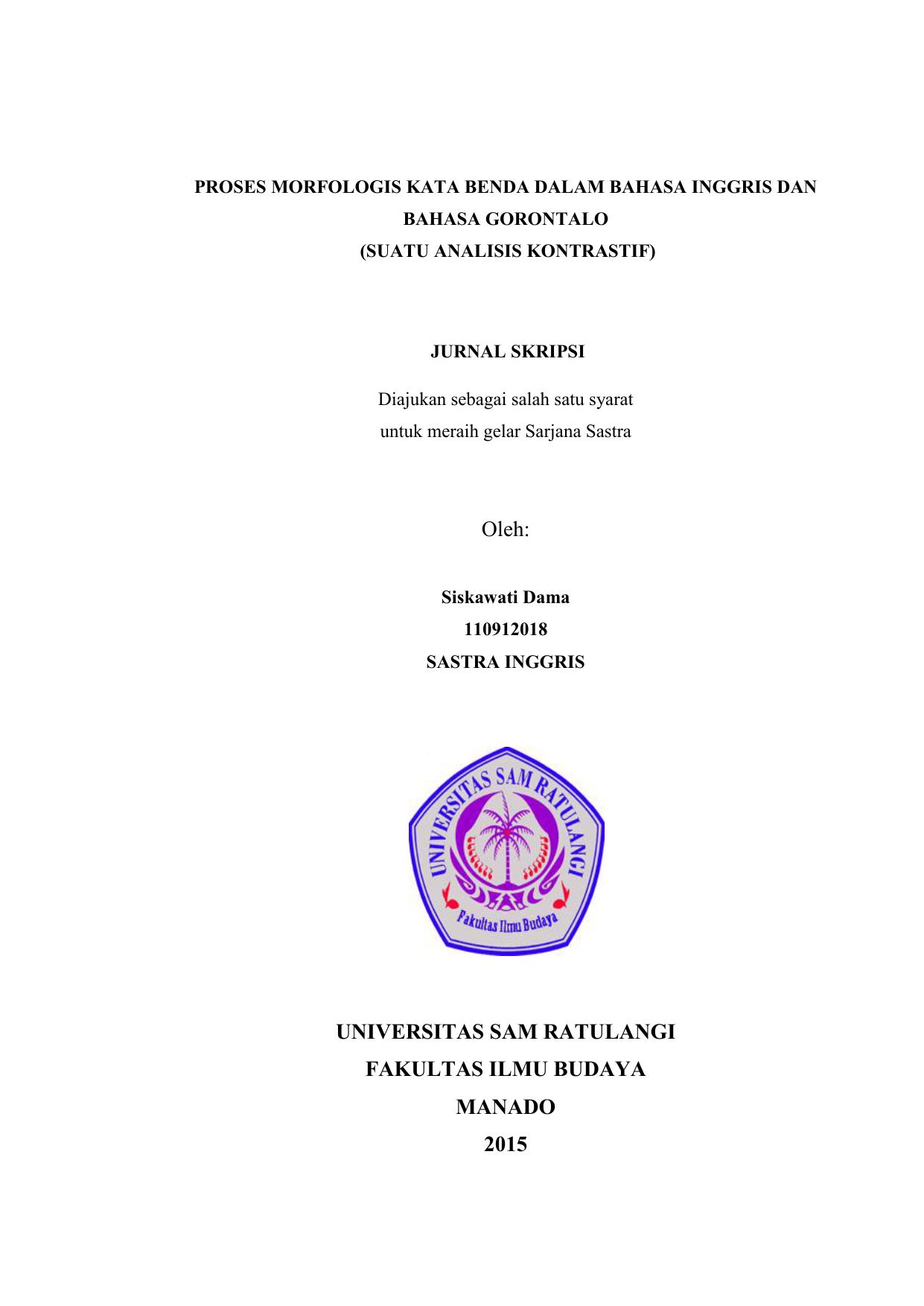 Oleh Universitas Sam Ratulangi Fakultas Ilmu Budaya