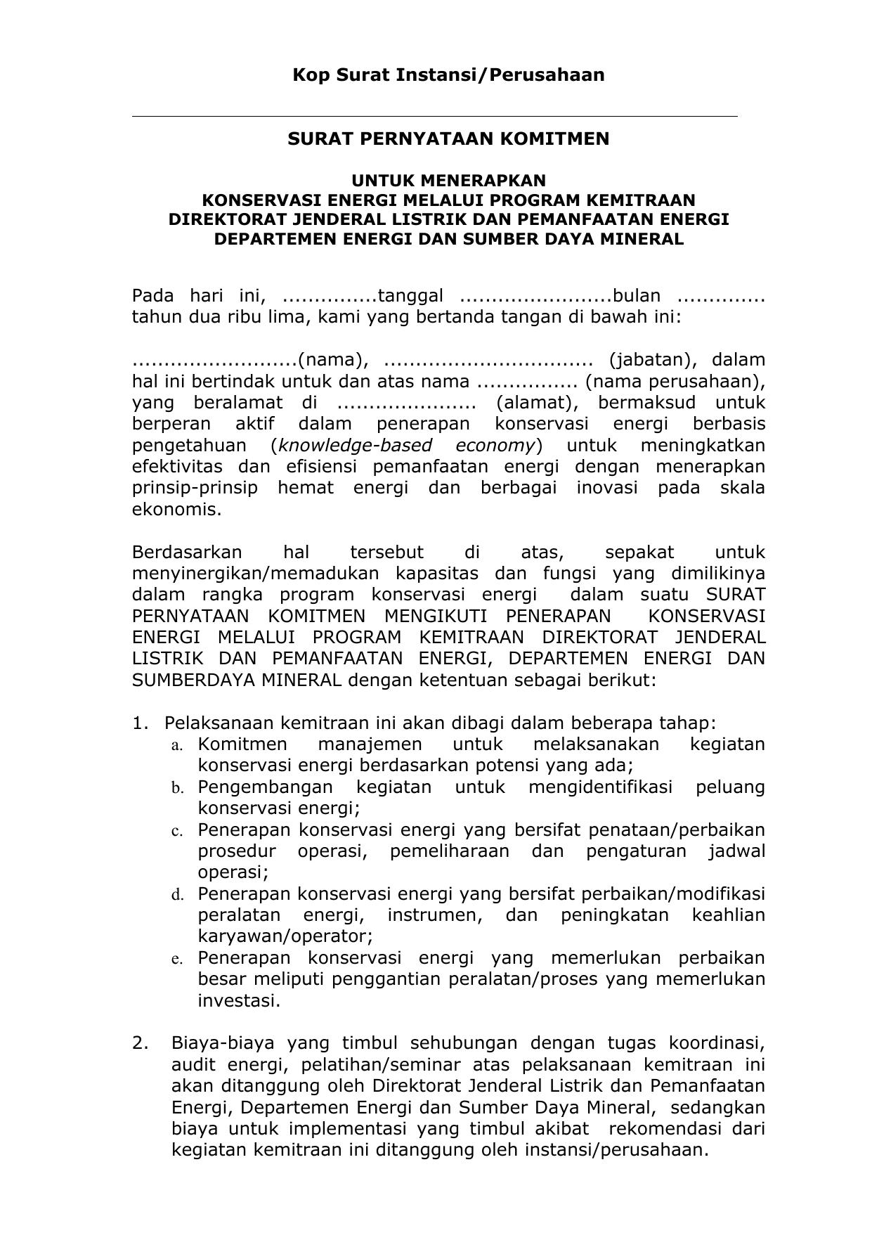 Memorandum Kesepakatan Bersama Direktorat Jenderal Listrik
