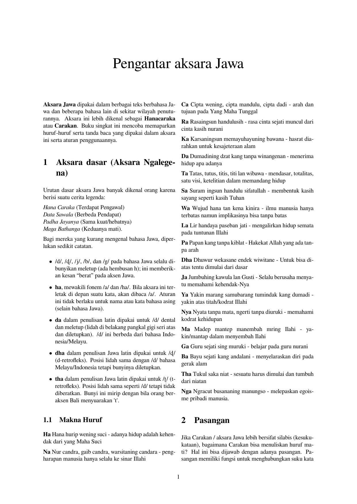 Pengantar Aksara Jawa
