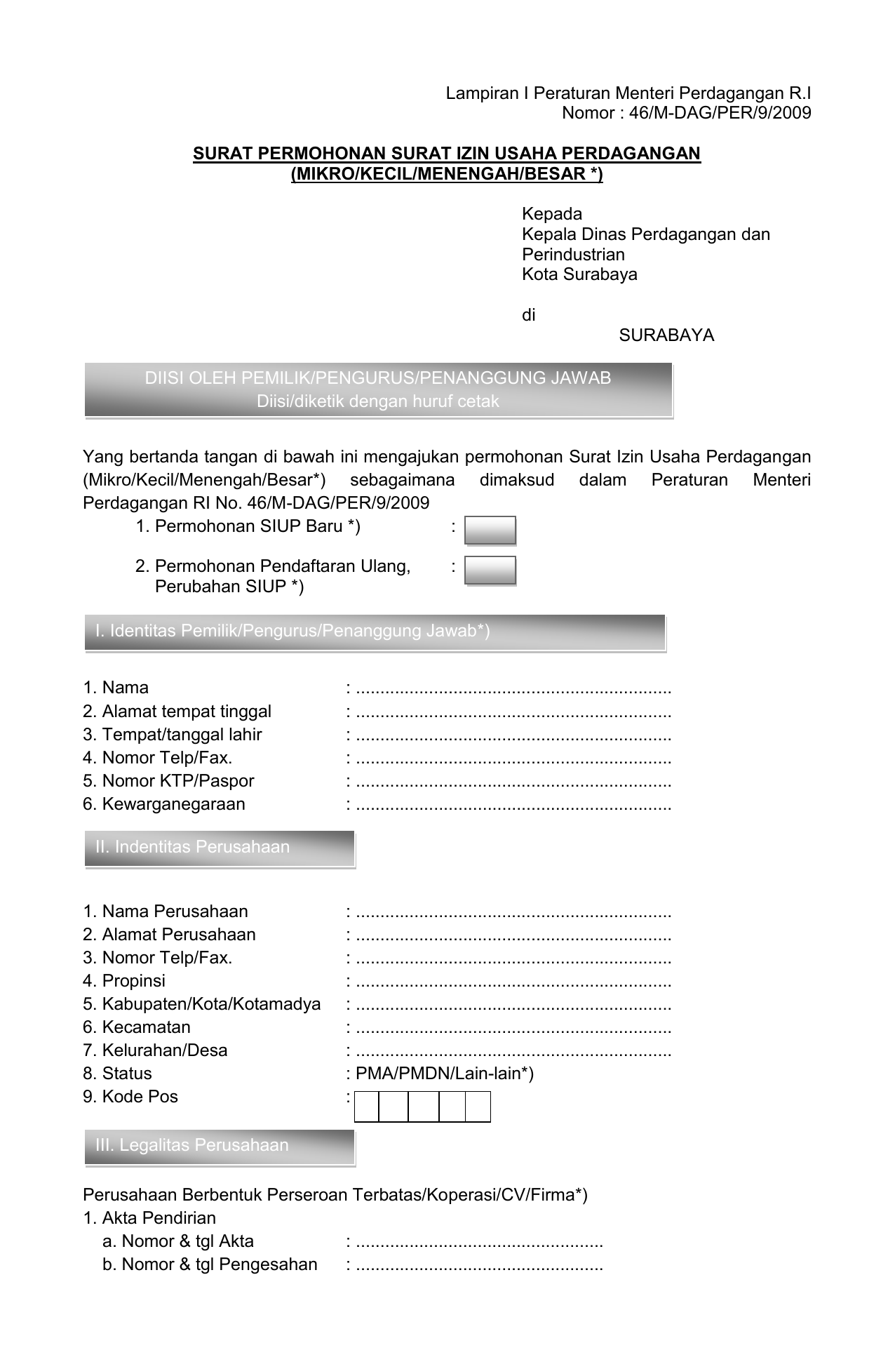 File Formulir Siup Dinas Perdagangan Surabaya