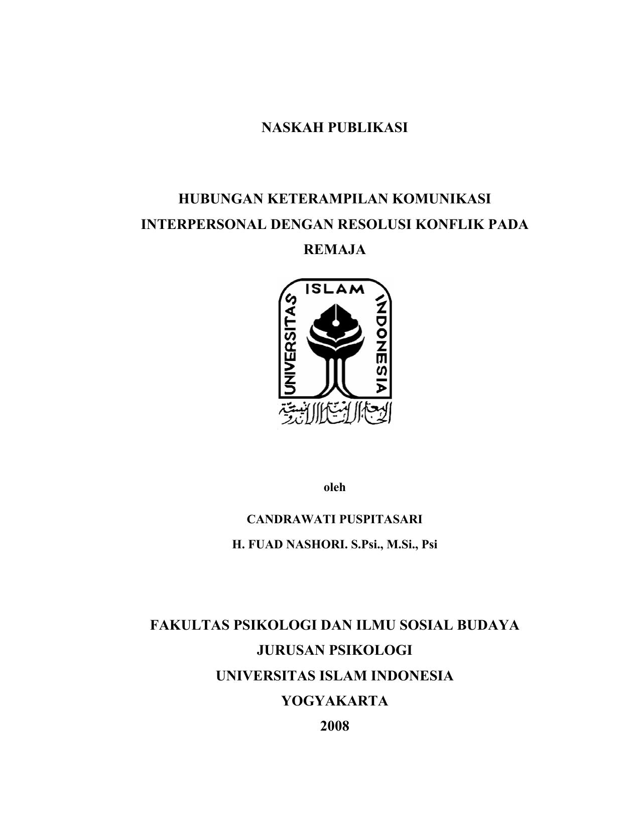 Naskah Publikasi Hubungan Keterampilan Komunikasi Interpersonal