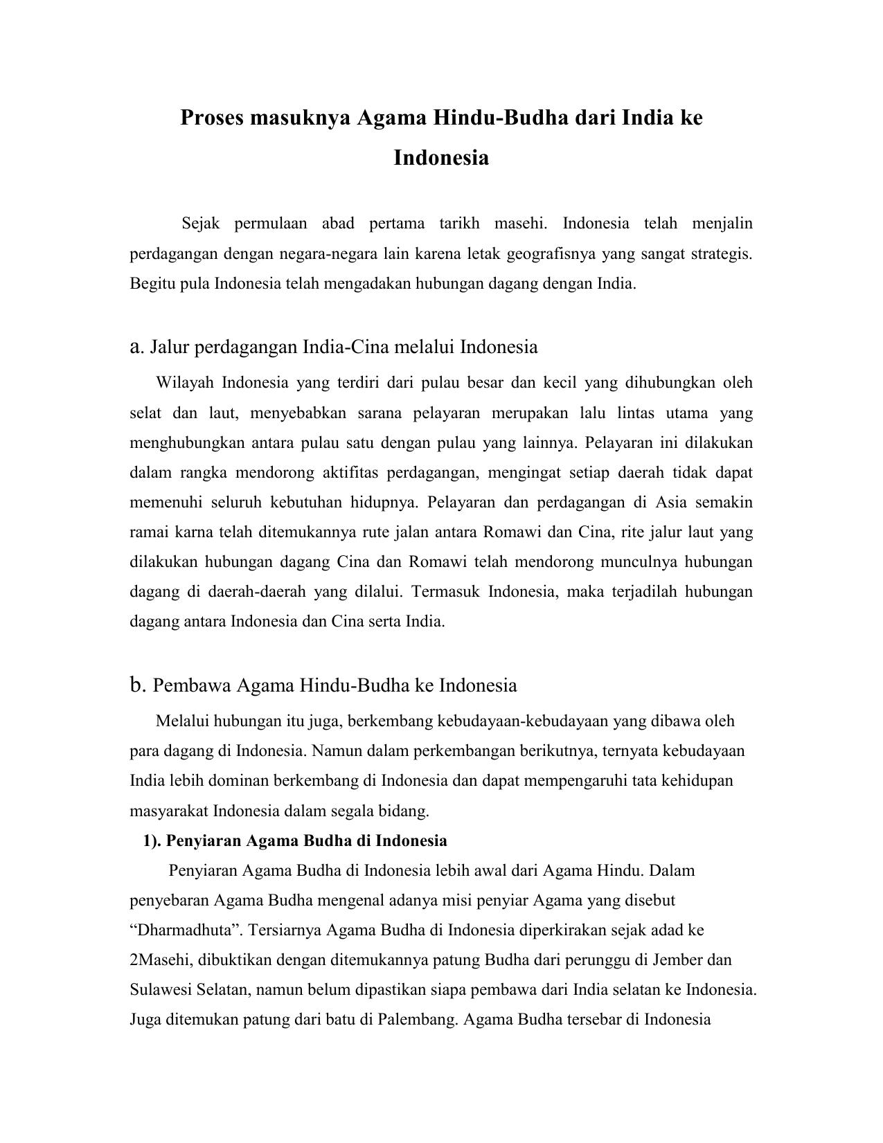 Proses Masuknya Agama Hindu Budha Dari India