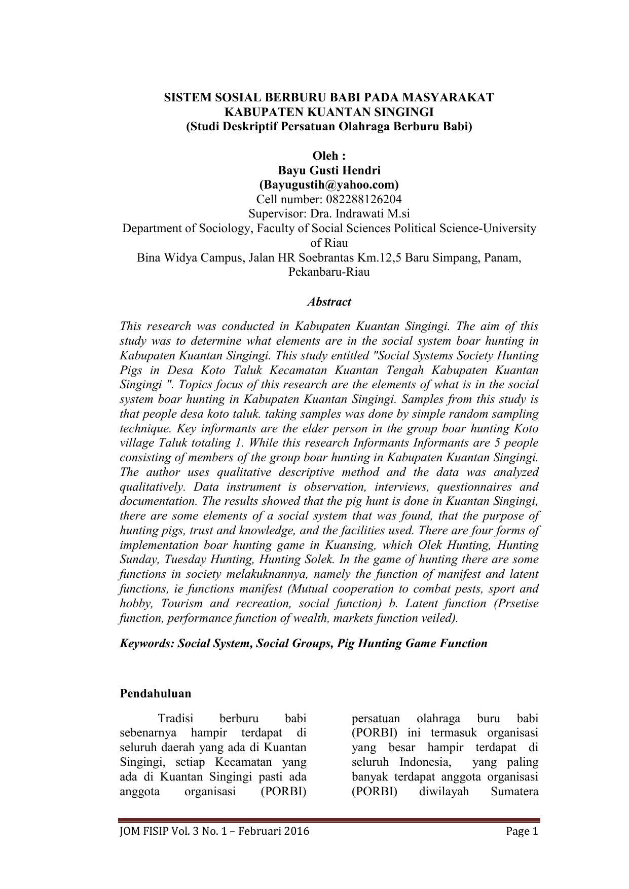 Studi Deskriptif Persatuan Olahraga Berburu Babi