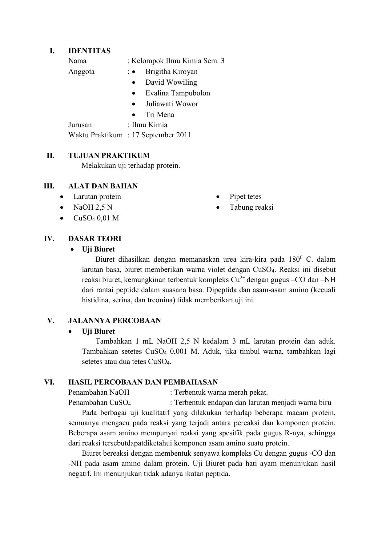 Laporan Praktikum Biokimia