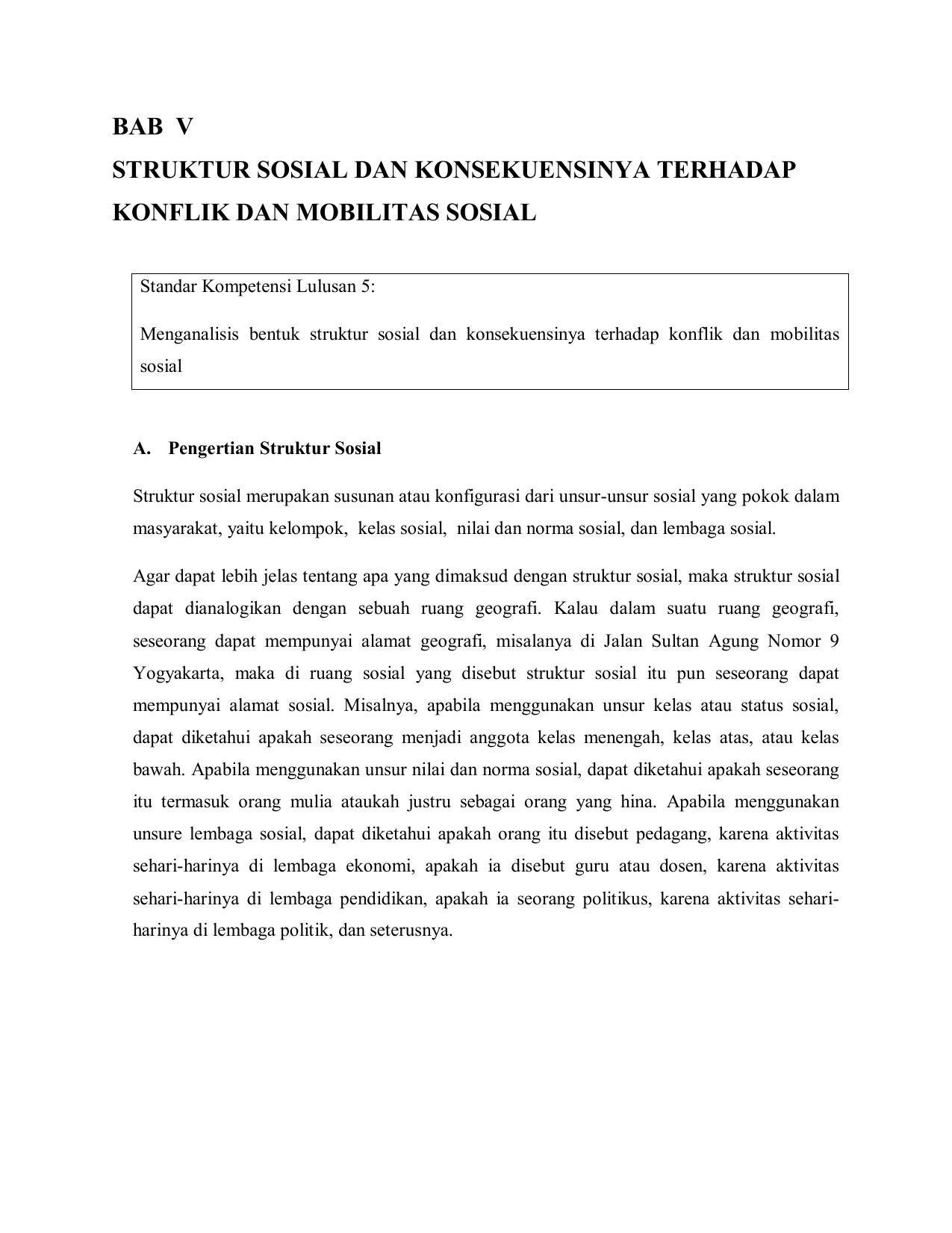 Struktur Sosial Dan Konsekuensinya Terhadap Konflik Dan Mobilitas