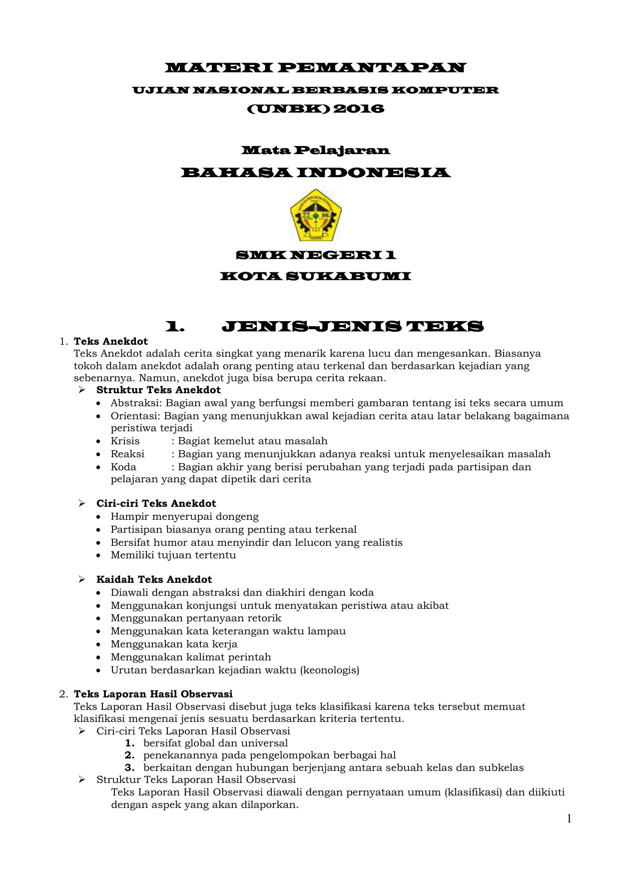 Materi Tambahan SMKN 1 Sukabumi