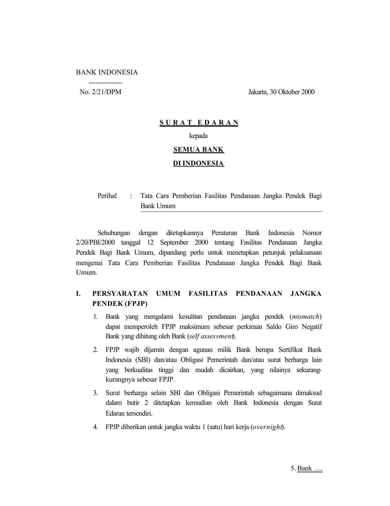 No 221dpm Jakarta 30 Oktober 2000