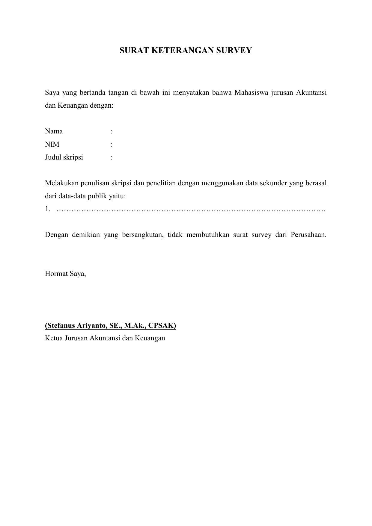 Surat Keterangan Survey