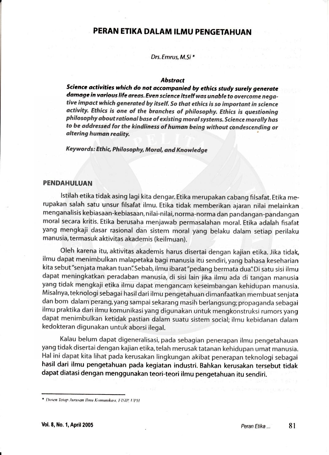 Peran Etika Dalam Ilmu Pengetahuan 8l