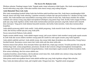 The Secret (9): Rahasia Anda