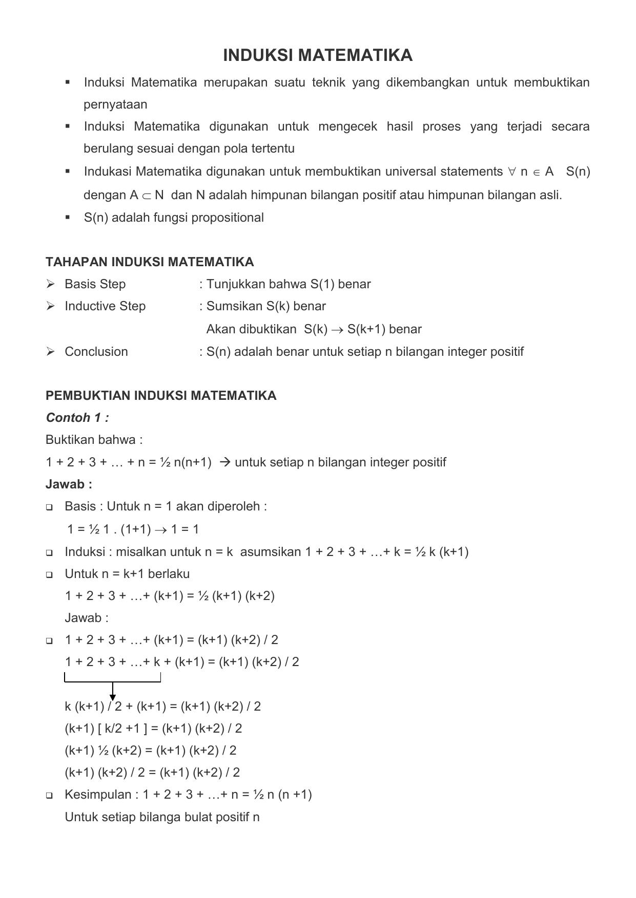 Contoh Makalah Induksi Matematika