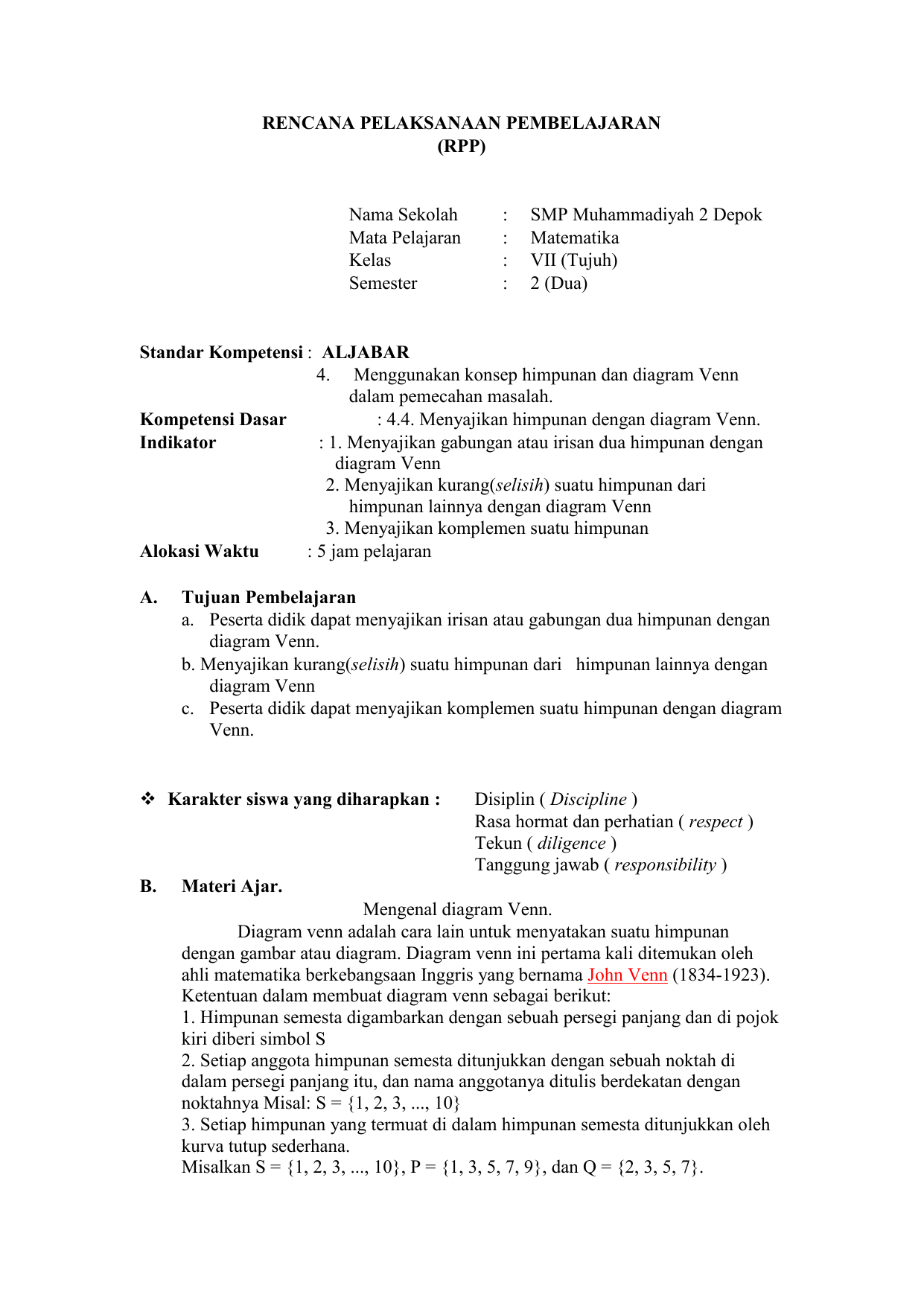 Contoh Soal Diagram Venn Himpunan Komplemen
