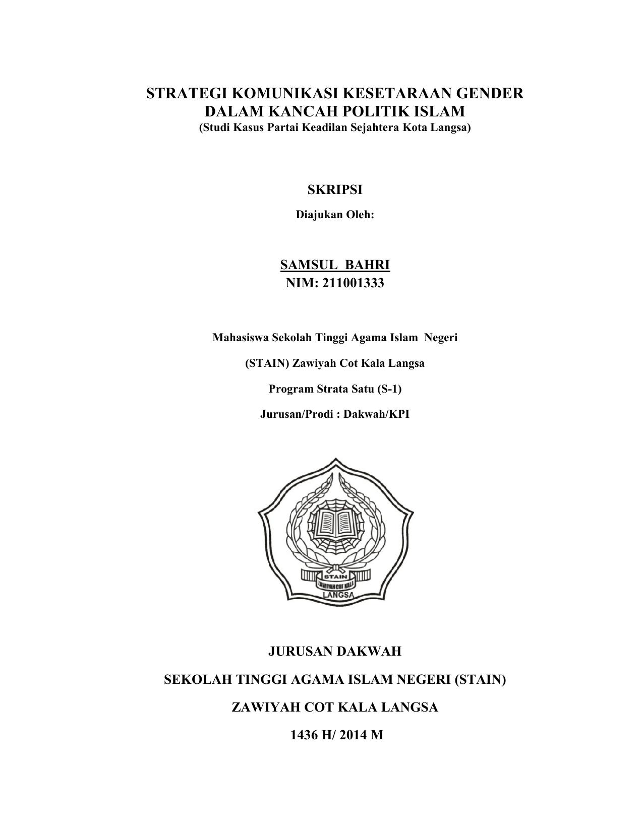 Strategi Komunikasi Kesetaraan Gender Dalam Kancah Politik Islam