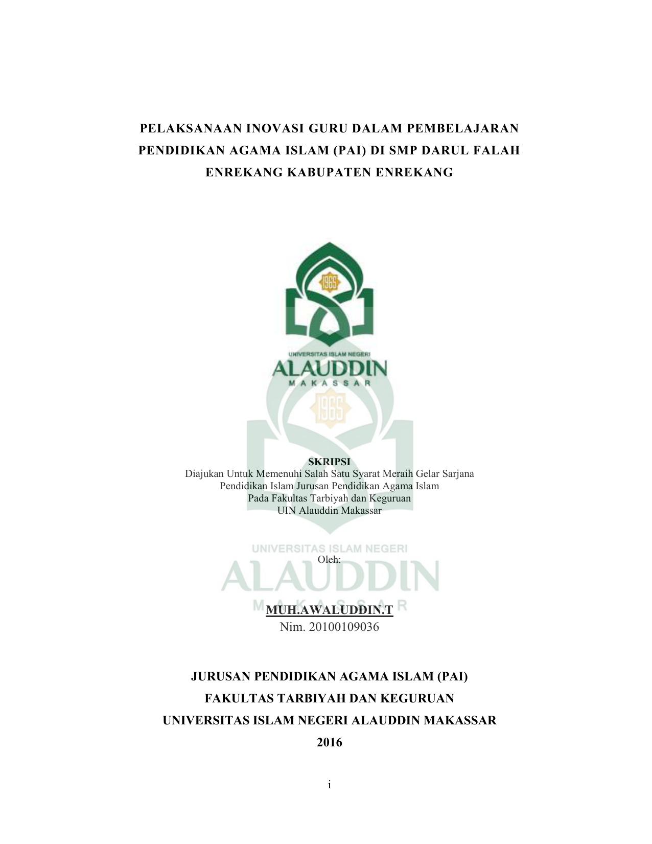 Contoh Sampul Makalah Uin Alauddin Makassar Barisan Contoh